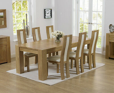 Rutland solid chunky oak furniture large dining table and 6 Havana chairs