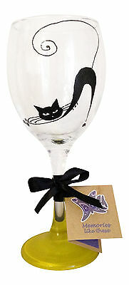 Cat lover present, Gift idea for crazy cat lady, silhouette Cat Wine Glass tubed