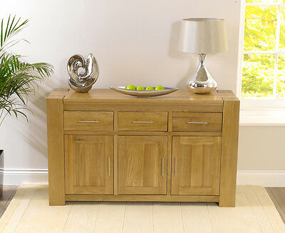 Rutland solid chunky oak  dining room furniture large 3 drawer sideboard cabinet