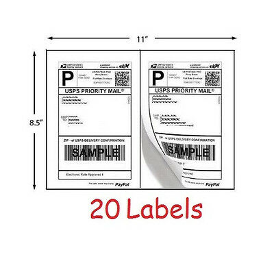 Shipping Labels 20 Self Adhesive Printer Paper Postage Ebay Paypal 8.5 x 5.5