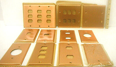 11 Heavy Duty Antique Smooth Copper Metal Plate Switch Phone Blank Light Covers