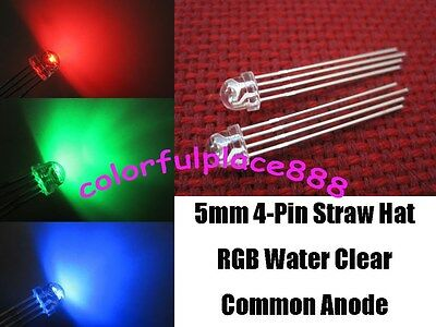 100pcs 5mm Straw Hat 4-Pin Tri-Color RGB Common Anode Water Clear LED Leds Light