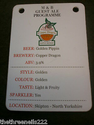 Beer Pump Clip Info Card - Skipton Copper Dragon