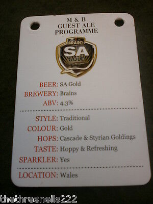 Beer Pump Clip Info Card - Brains Sa Gold