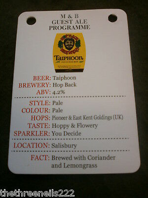 Beer Pump Clip Info Card - Hop Back Taiphoon