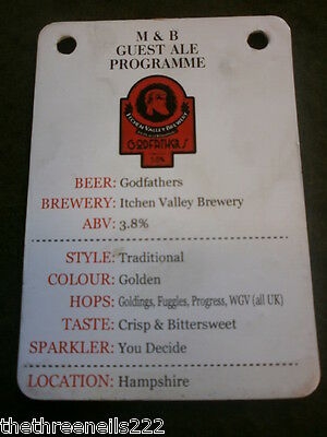 Beer Pump Clip Info Card - Itchen Valley Brewery Godfathers