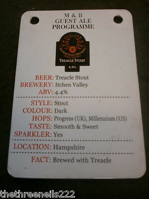 Beer Pump Clip Info Card - Itchen Valley Treacle Stout