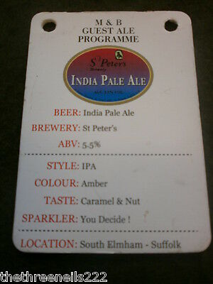 Beer Pump Clip Info Card - St Peter's India Pale Ale