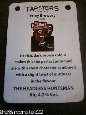 Beer Pump Clip Info Card - Tetley The Headless Huntsman