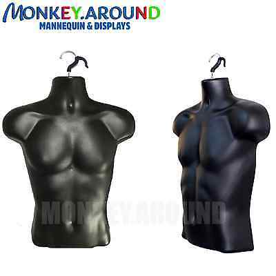 Male Mannequin, Display Clothing JERSEY Body Torso Dress Hanger Man Form - BLACK