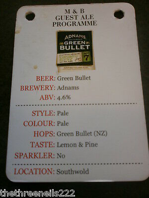 Beer Pump Clip Info Card - Adnams Green Bullet