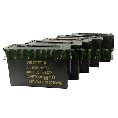 5 Cans! FIVE 30 Cal Grade 1 Empty Ammunition Case. M19A1 Ammo Cans