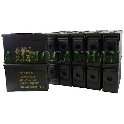 12 Cans! TWELVE 30 Cal Grade 1 Empty Ammunition Case. M19A1 Ammo Cans