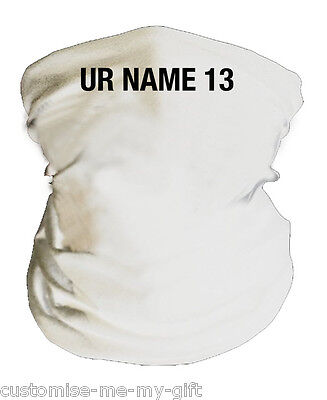 White | Football Snood | Ltd Ed | Personalised | Neck Warmer