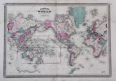 1870 Johnsons World On Mercators Projection - Large Antique Map, Hand Color