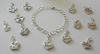 Clip On 30 Link Silver Plated  Bracelet  With Personalised Charm Choice 20 Cm