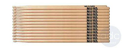 Vic Firth Nova 5A/5B/7A/2B Hickory Wood/Nylon Tip DrumStick 12 Pair Sticks Brick