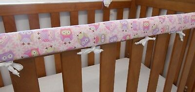 Cot Rail Cover Crib Teething Pad - Purple Pink Owls x 1
