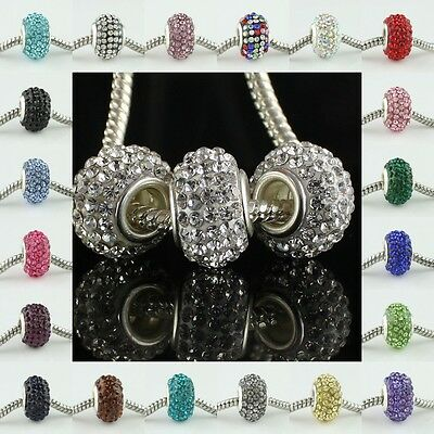 Colors Rhinestone Crystal Big Hole Charm Beads Findings Fit Bracelet Jewelry