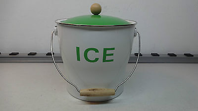 NEW Modern Green & White ICE BUCKET W/ Wood & Metal ACCENTS, Picnic, Bar