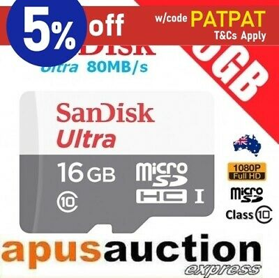 SanDisk Mobile ULTRA 16GB 80MB/s Class 10 Micro SD SDHC Memory Card Full HD 2017