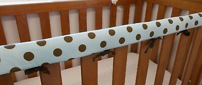 1 x Baby Cot Rail Cover Crib Teething Pad - Large Spots On Blue **REDUCED!!!!***