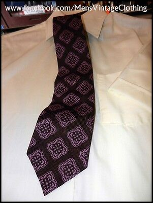 Vintage 60s 70s Purple Patterned 'Mr Cravate' Polyester Wide Tie Disco Party