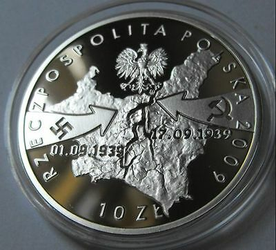 Silver Polish coin SEPTEMBER 1939 - Airplane dropping bombs WIELUN (ussr, hitler