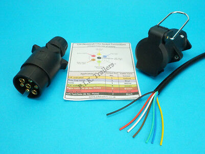 5 Metres 7 Core Cable & 7 Pin 12N Plug & Flying Socket Trailer Extension Kit