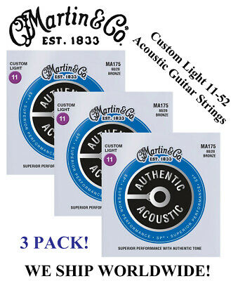 **3 Sets - Martin M175 Acoustic Guitar Strings Custom Light 80/20 Bronze**