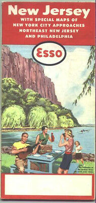 1957 Esso New Jersey Vintage Road Map /Palisades on cover