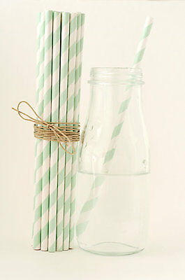 25x Mint striped paper straws wedding birthday baby shower party decorations