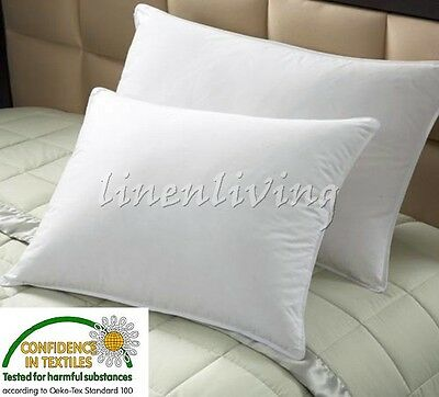 2 x 100% Duck Feather Standard or European Pillows Cotton Cover Machine Wahable