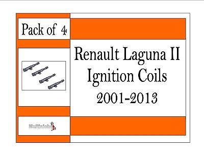Renault Laguna II 1.6, 1.8, 2.0 2001-2013 Ignition Coil 0986221001 **pack of 4**