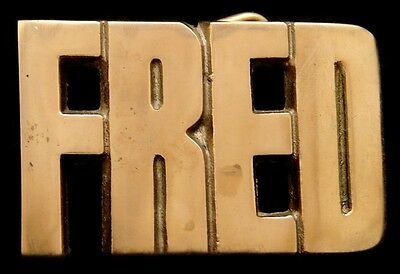 Mh14172 *nos* Vintage 1978 Cut-Out Name ***fred*** Solid Brass Buckle