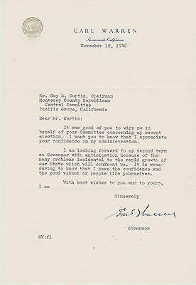 Signed Supreme Court Chief Justice Earl Warren Letter + Envelope