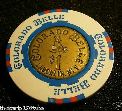 Colorado Belle Casino Chip $1 Laughlin, Nevada Brass Inlay Obsolete Nice Chip