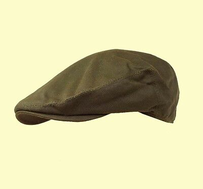 Failsworth Olive Green Wax Cap Flat Cap Fishing Cap Hunting Country Shooting