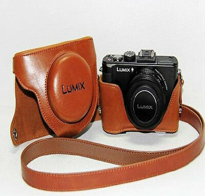 Leather Camera Case Bag Protector Fit For Panasonic Lumix DMC-LX7 LX7 LX5 Brown