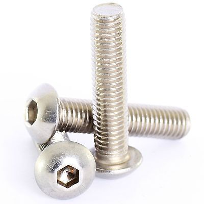 M2 M2.5 M3 M4 Stainless Hex Socket Button Head Allen Bolts Screws Screw Iso7380