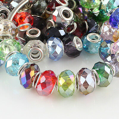 Wholesale Faceted Crystal Glass Silver Plated Findings European Big Hole Beads