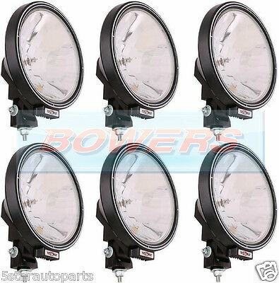 """6 x 12V/24V 9"""" ROUND SPOT/DRIVING/BAR LAMPS/LIGHTS TRUCK/LORRY/4X4/OFF ROAD"""