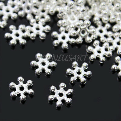Wholesale Lot 500 Pcs Silver Plated Useful Pretty Snowflake Spacer Beads 8mm