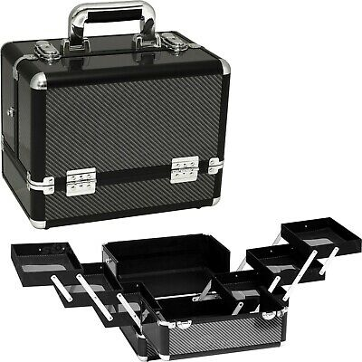 Professional Aluminum Makeup Cosmetic Train Case Beauty Organizer 6 Tier Travel