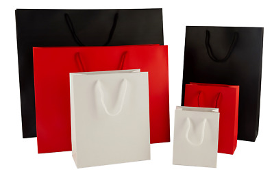 Luxury Matt Paper Boutique Carrier Gift Bags With Rope Handles