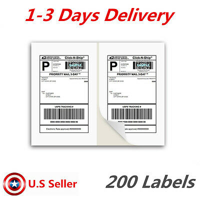 200 Shipping Label White Blank Half Page Self Adhesive for Laser Inkjet