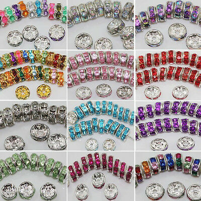 Wholesale 50/100Pcs Silver Plated Crystal Rhinestone Round Spacer Beads DIY 8MM