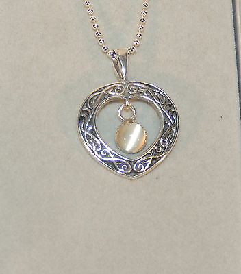 Sterling Silver Heart with Moonstone Pendant on Bead chain (5303)