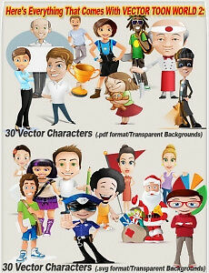 Vector Toon World -High Resolution Toons- Works With GIMP, Adobe Photoshop