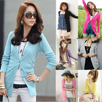 Womens Girls Loose Casual Button Down Soft Long Knitwear Knit Cardigan 10 Color
